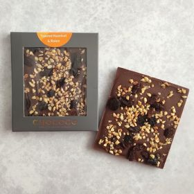 45% Venezuela Milk Chocolate studded with toasted Hazelnuts & Raisins Mini Bar