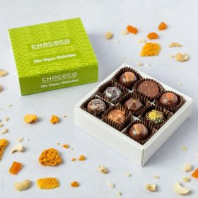a small box of 9 handcrafted chocolates by chococo that are all vegan friendly