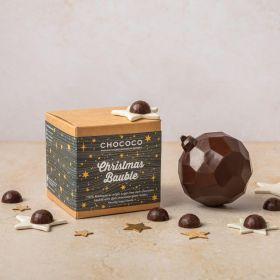 100% dark chocolate bauble with gems inside by Chococo