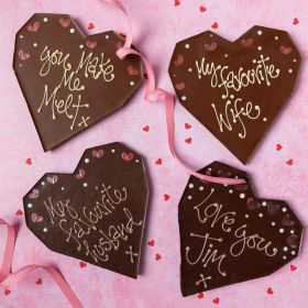 Personalised Dark Chocolate Love Heart (vegan-friendly)