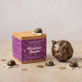 Dark chocolate hand-decorated chocolate Christmas bauble with 4 spiced gems by Chococo