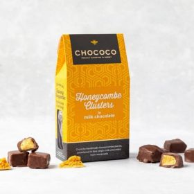 A Chococo Honeycombe cluster box covered in milk chocolate