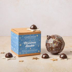 milk chocolate Christmas  bauble with salted caramel gems inside by Chococo