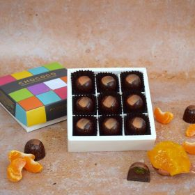 Box of 9 handcrafted chocolates by CHococo in called tangerine dream with colourful lid and orange segments scattered round the box