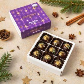 9 handcrafted christmas  spiced rum chococlates in a box by Chococo