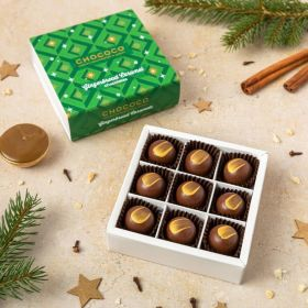 a small box of 9 handcrafted chococo Christmas chocolates in a gingerbread caramel flavour with