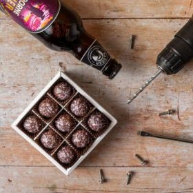 Limited Edition Box of Cranborne Poacher Caramel Chocolates by Chococo proudly hand crafted in Dorset With Badger Brewery Ruby ALe