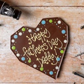 'Happy Fathers Day, Daddy' Giant Milk Chocolate Heart by Chococo proudly handcrafted in Dorset