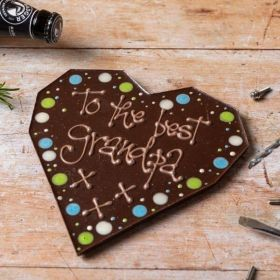 'To The Best Grandpa' Giant Dark Chocolate Heart by Chococo proudly handcrafted in Dorset
