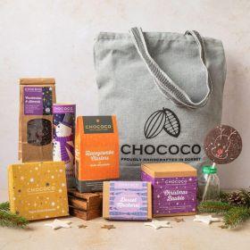 vegan dark chocolate canvas bag hamper by Chococo