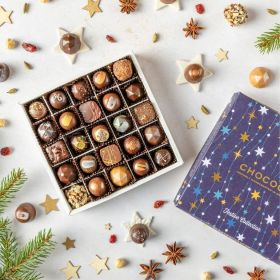 a festive collection selection chocolate box with 25 handcrafted chocolates by chococo