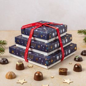 a small medium and large cascade of festive collection chocolates by chococo