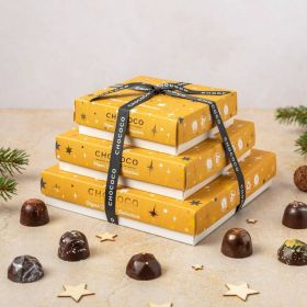 vegan festive collection boxes stacked on top of each other by Chococo