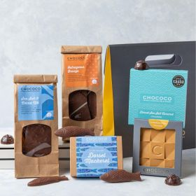 A Chococo Milk & Gold Chocolate Hamper with Dorset Salted Caramel Chocolates, Slabs & Bars and novelty Mackerel all in grey gift bag