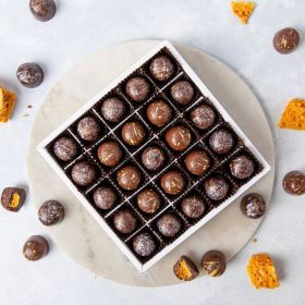 Honeycombe handcrafted milk 7 Dark  chocolates by Chococo in a chocolate box proudly made in Dorset