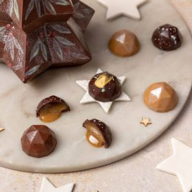 milk chocolate Christmas tree by chococo with box and holly