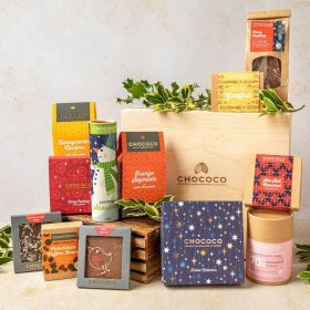 gaint christmas hamper by Chococo with an array of handcrafted chocolates, slabs, bars, hot chocolate, snowmen and gold fish