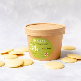 White chocolate Drop Buttons 34% Colombia cocoa butter made by Chococo in Brown craft plastic free packaging