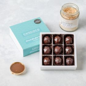 A chocolate box of 9 Dorset Sea Salted Caramel chocolates