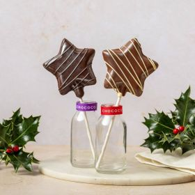 dark chocolate covered honey star lolly handcrafted in Dorset by CHococo