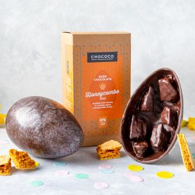 Giant Dark Chocolate Honeycombe Studded Easter Egg (vegan-friendly)