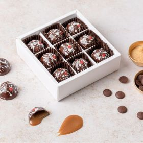 Miso Caramel Chocolates on abox of 9 handcrafted by Chococo.