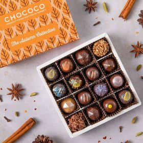 A chococo autumn collection selection box with 16 handcrafted chocolates