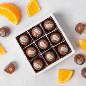 Orange odyssey box of 9 handcrafted chococlates by Chococo