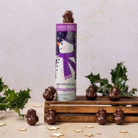 dark chocolate snowmen shapes by Chococo surrounded by holly