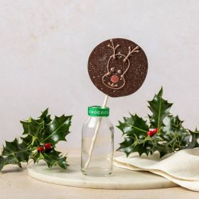 dark chocolate reindeer lolly by Chococo in small glass milk bottle with real holly and berry s around it