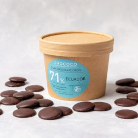 Dark Chocolate Button Drops 71% Ecuador  handmade by Chococo in Dorset with Brown Craft plastic free packaging