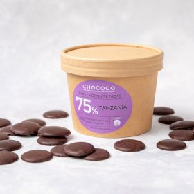 Dark Chocolate Button Drops 75% Tanzania hand made by Chococo in Dorset coming in plastic free brown craft packaging