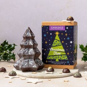 dark chocolate tree by Chococo with gems in side and decorated by Hand in holly pattern