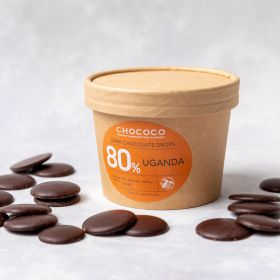 Dark Chocolate Button Drops handmade by Chococo in Dorset in Brown Craft Packaging
