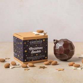 85% dark chocolate bauble by Chococo with cocoa beans inside