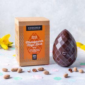 85% Madagascar Mega Dark Easter Egg with cocoa dusted cocoa beans inside (vegan-friendly)