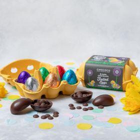 Box of Six Dark Chocolate Foiled Easter Eggs (vegan-friendly)