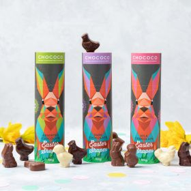 Easter Bunny Tube filled with Dark Chocolate Easter Shapes (vegan-friendly)