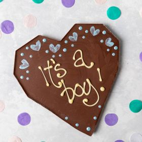 Large Milk Chocolate Heart Bar with 'It's a boy' written on by Chococo Chocolates proudly handcrafted in Dorset