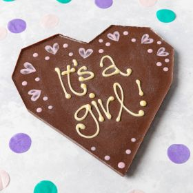 'It's a Girl' Milk Chocolate Heart Bar hand piped 'it's a boy' written on by Chococo Chocolates proudly handcrafted in Dorset