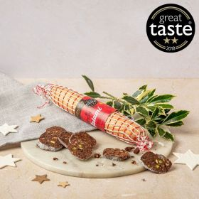 Chococo dark chocolate salami with wreath, grapes, figs and pomegranates