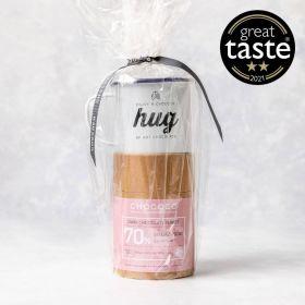 enamel mug with 70% hot chocolate tube with marshmellows