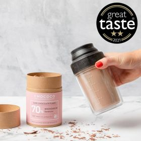 4 tubes of Chococo hot chocolate flakes with shaker to make the ultimate hot chocolate.