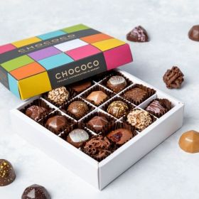 16 handcrafted fresh chocolates by chococo in a white box and colourful lid