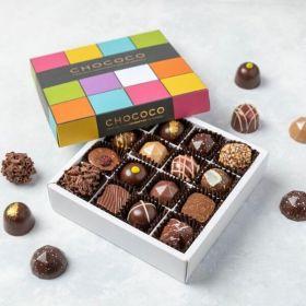 A Chococo chocolate box full of 16 fresh hand crafted chocolates