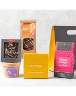Build your own chocolate hamper handcrafted by Chococo. Select, slab, mini bar, button, a box of chocolate & Cluster