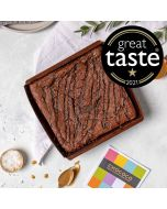 A  Dorset sea salted caramel chocolate postal brownie in baking tray by Chococo proudly hand crafted in Dorset