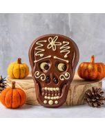 Frida milk chocolate halloween skull bar buy Chococo next to felt orange pumkins