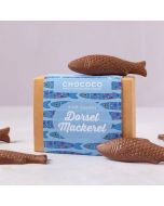 milk chocolate Dorset mackerel fish shapes by Chococo on kraft box