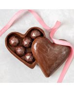 Edible chocolate heart box with our award winning Dorset Sea Salt Caramel gems. Handmade by Chococo in plastic free packaging